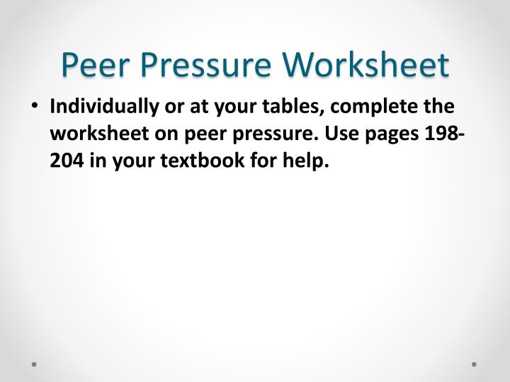Peer Pressure Worksheet