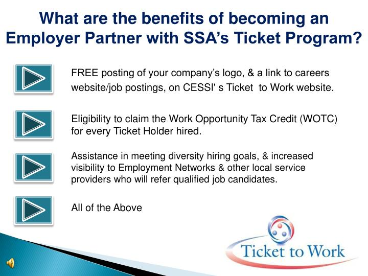 What are the benefits of becoming an Employer Partner with SSA's Ticket Program?