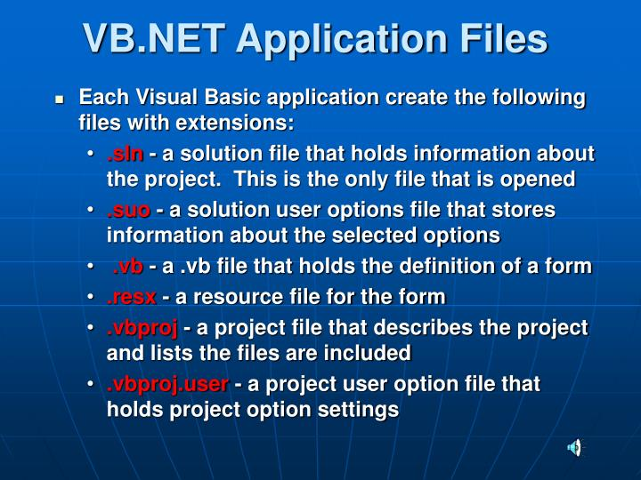 VB.NET Application Files