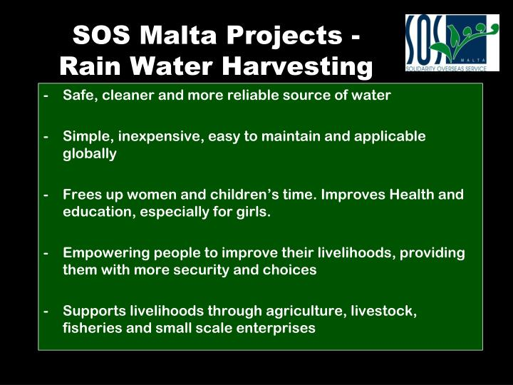 SOS Malta Projects - Rain Water Harvesting