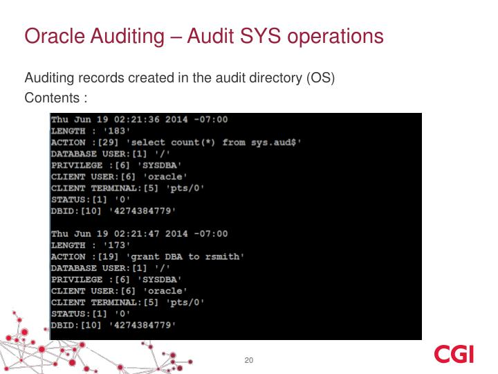 Oracle Auditing – Audit SYS operations