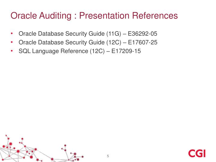 Oracle Auditing : Presentation References