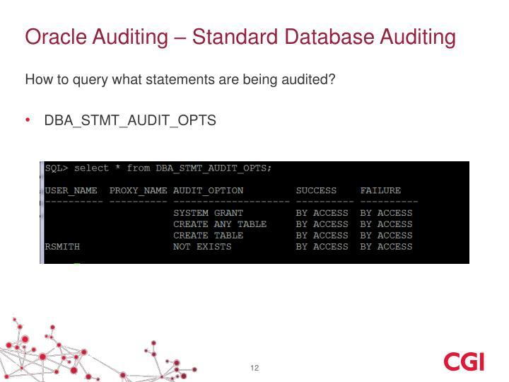 Oracle Auditing – Standard Database Auditing