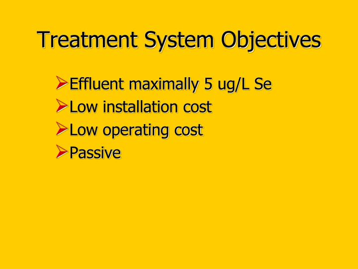 Treatment System Objectives