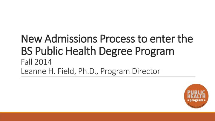 New Admissions Process to enter the