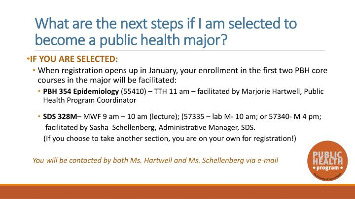 What are the next steps if I am selected to become a public health major?