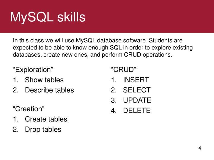 MySQL skills