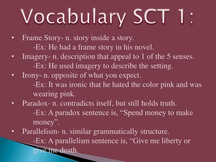Vocabulary SCT 1: