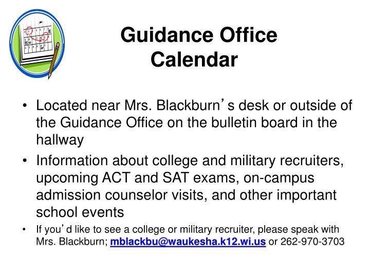 Guidance Office Calendar