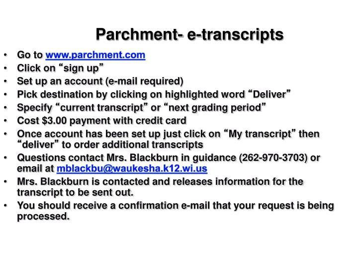Parchment- e-transcripts