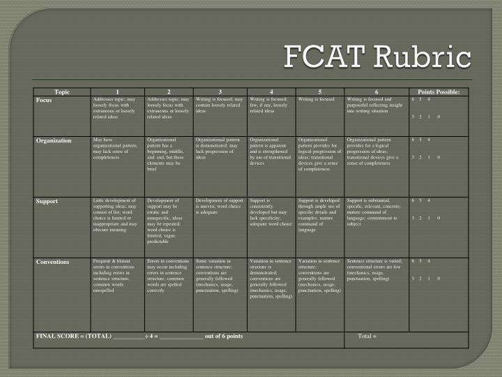 FCAT Rubric