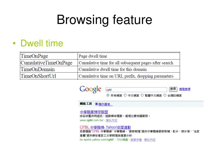 Browsing feature