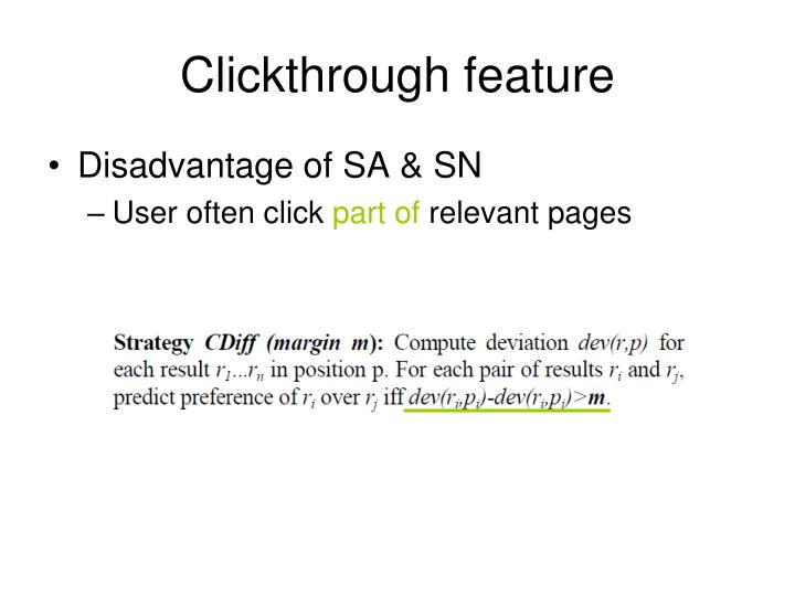 Clickthrough feature