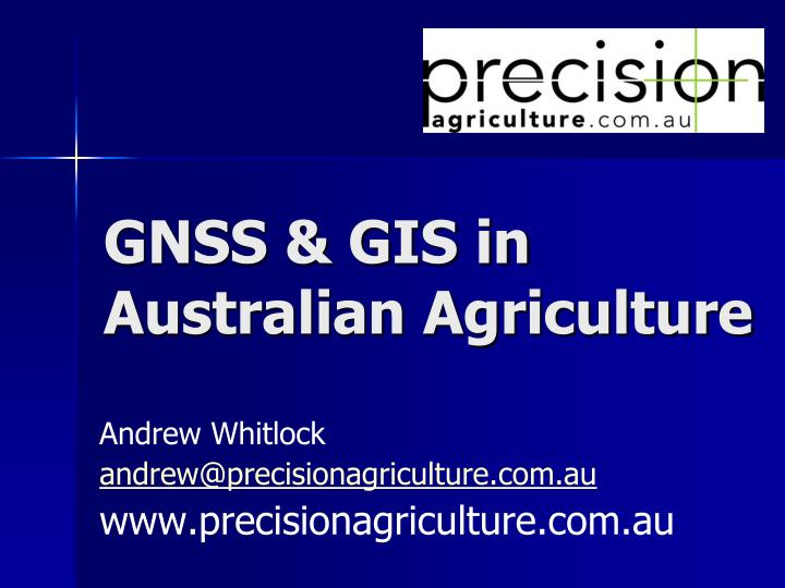 gnss gis in australian agriculture