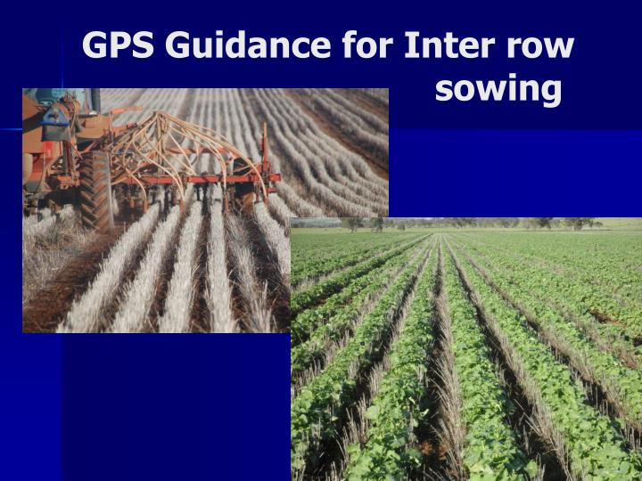 GPS Guidance for Inter row 						sowing
