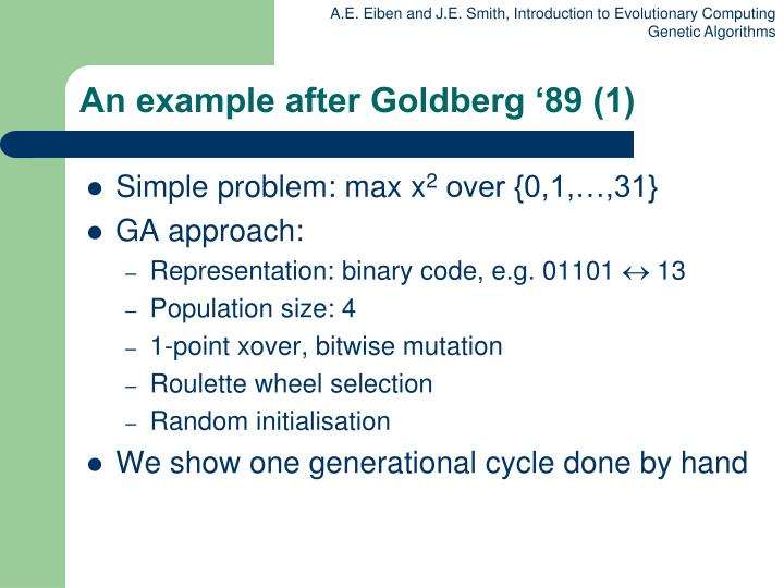 An example after Goldberg '89 (1)