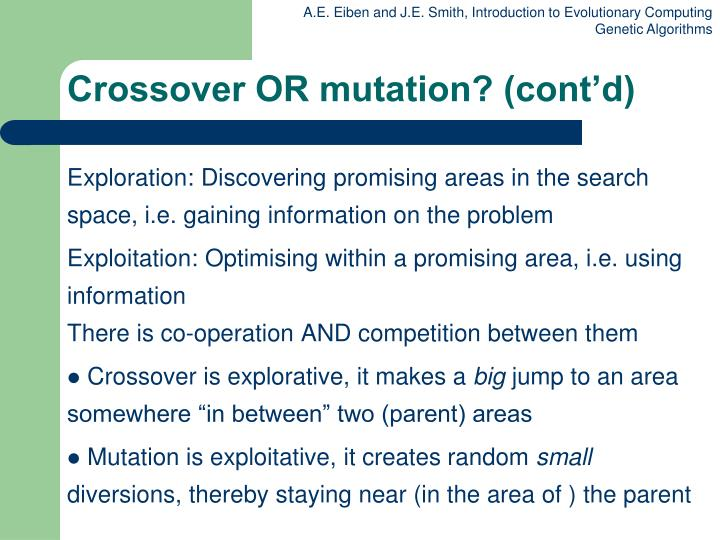 Crossover OR mutation? (cont'd)
