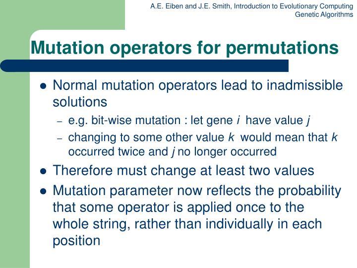 Mutation operators for permutations