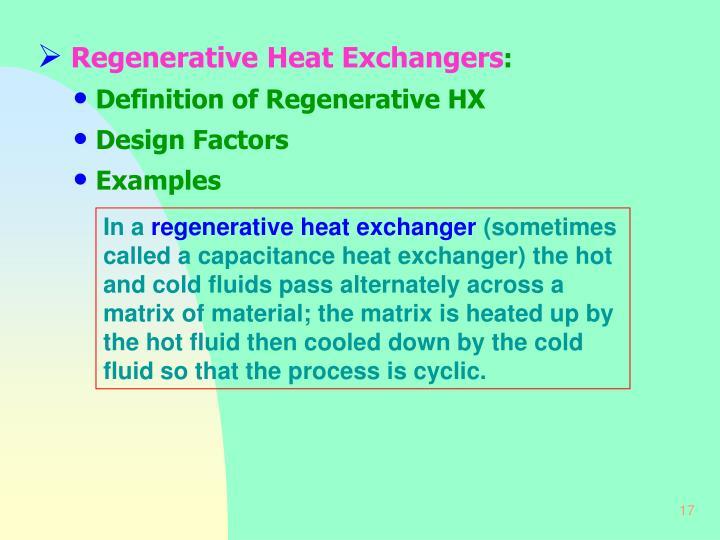 Regenerative Heat Exchangers