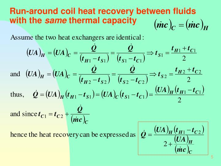 Run-around coil heat recovery between fluids with the