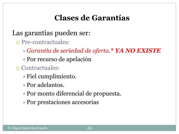 Clases de Garantías