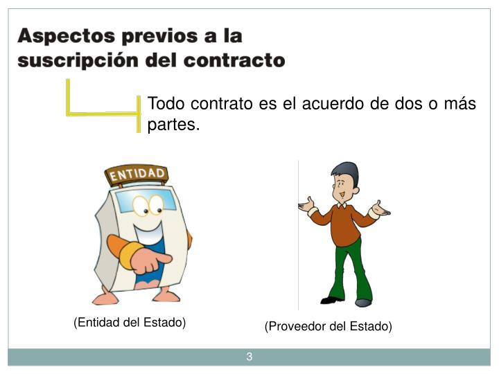 Todo contrato es el acuerdo de dos o más partes.