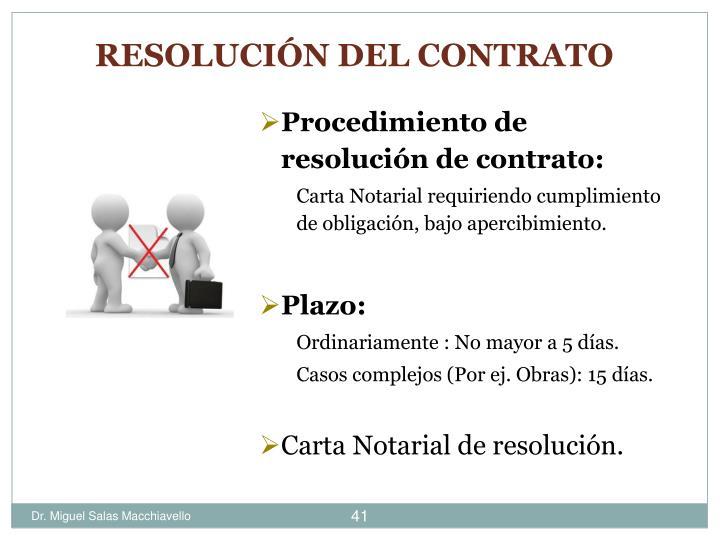 Procedimiento de resolución de contrato: