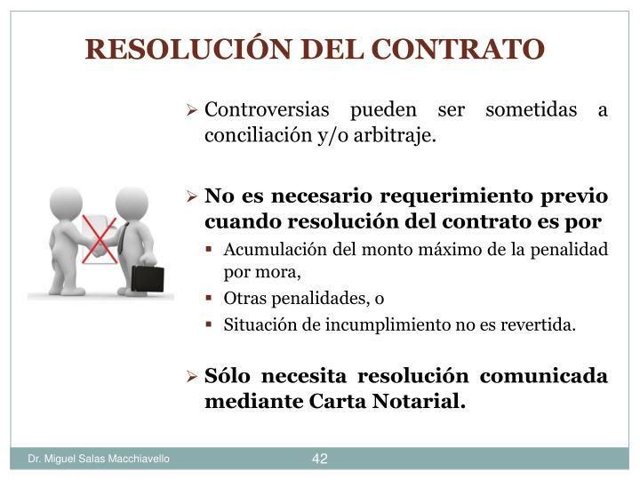 Controversias pueden ser sometidas a conciliación y/o arbitraje.