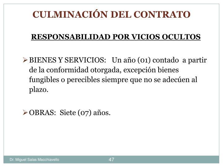 RESPONSABILIDAD POR VICIOS OCULTOS