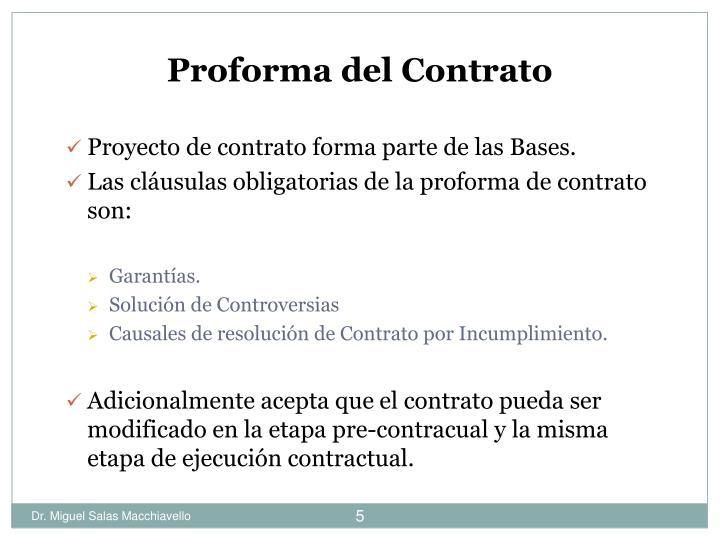 Proforma del Contrato