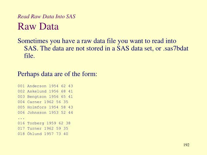 Read Raw Data Into SAS