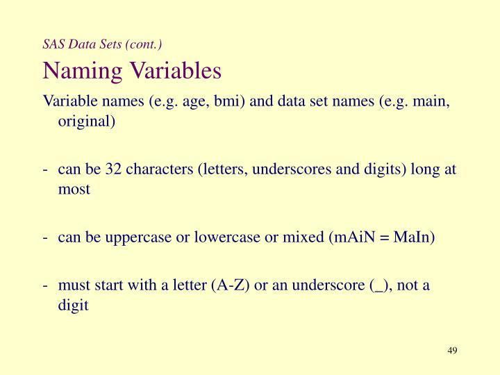 SAS Data Sets (cont.)