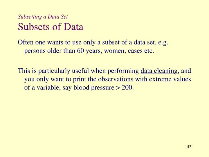Subsetting a Data Set