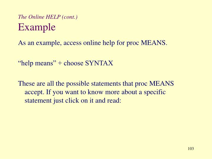 The Online HELP (cont.)