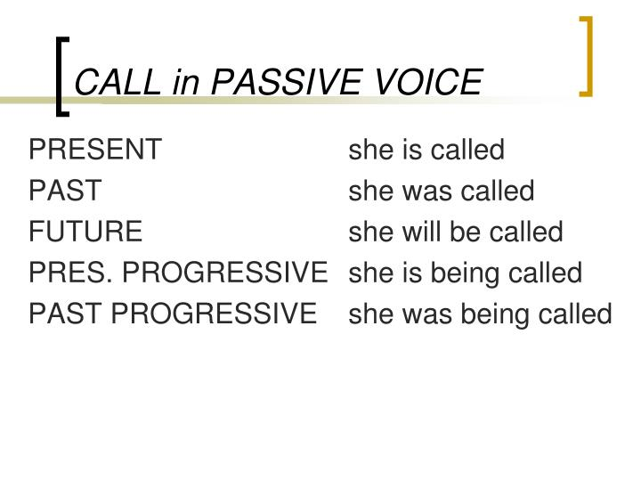 CALL in PASSIVE VOICE