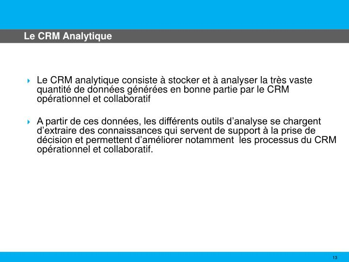 Le CRM Analytique
