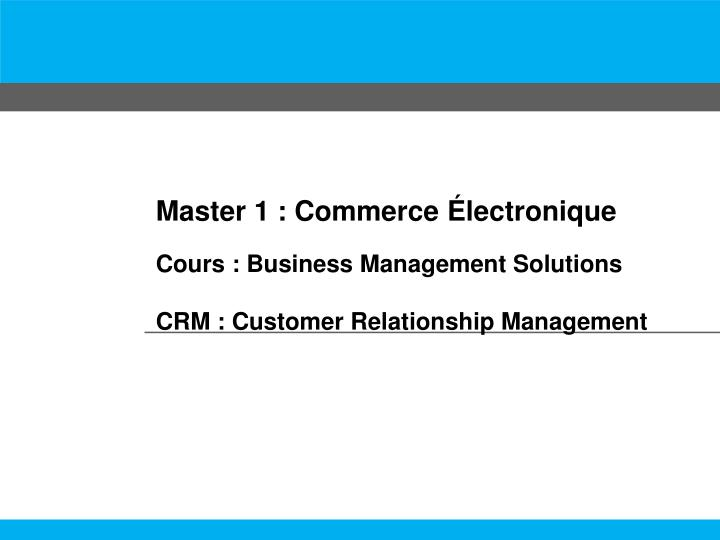 Master 1 : Commerce