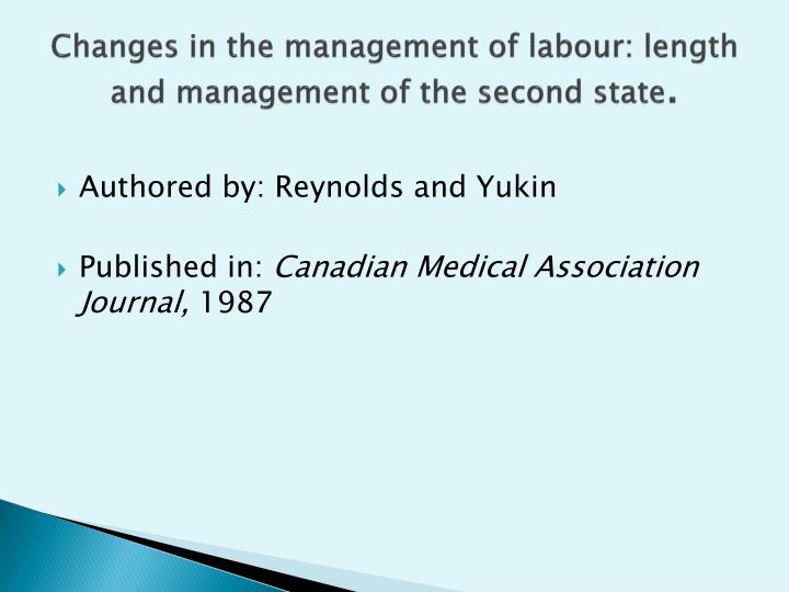 Changes in the management of labour: length and management of the second state