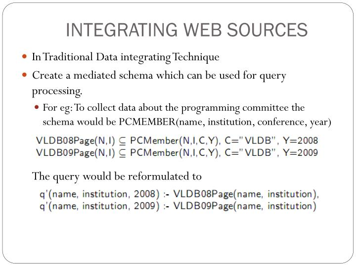 INTEGRATING WEB SOURCES