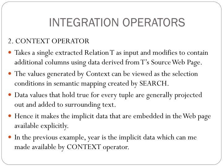 INTEGRATION OPERATORS