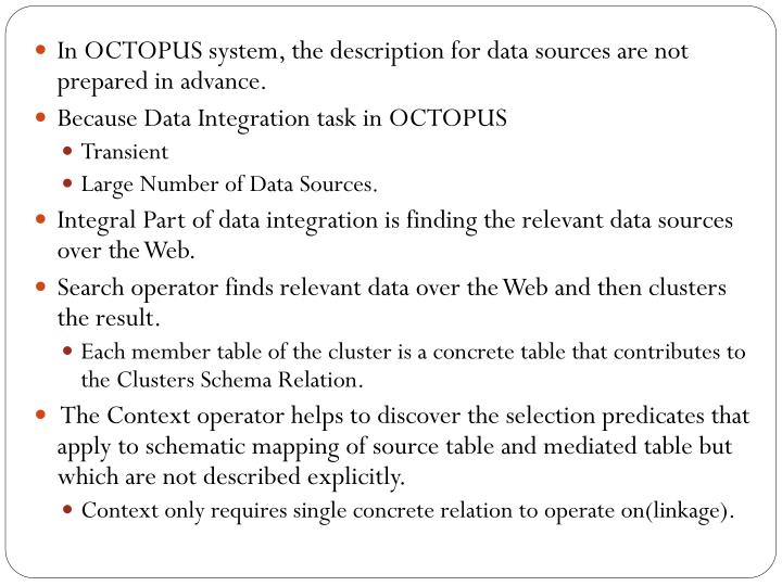 In OCTOPUS system, the description for data sources are not prepared in advance.