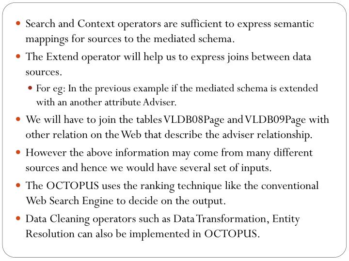 Search and Context operators are sufficient to express semantic mappings for sources to the mediated schema.