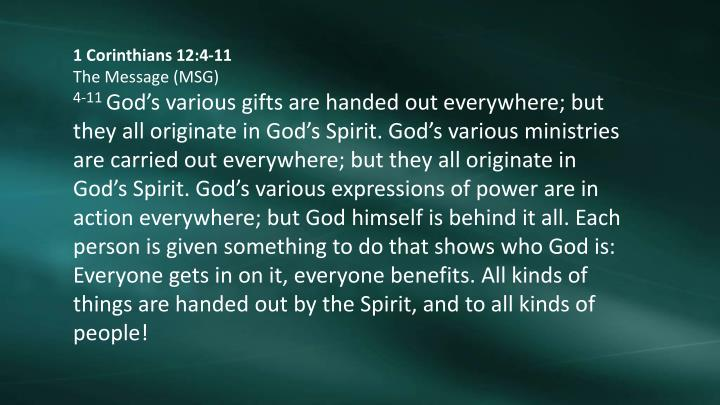 1 Corinthians 12:4-11