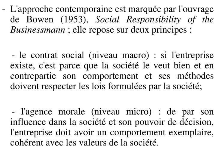 L'approche contemporaine est marquée par l'ouvrage de Bowen (1953),