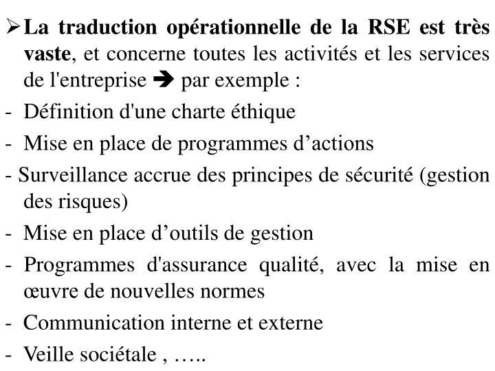 La traduction opérationnelle de la RSE est très vaste