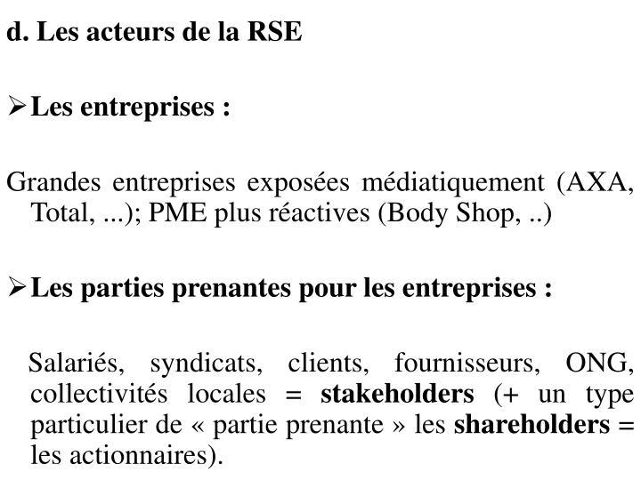 d. Les acteurs de la RSE