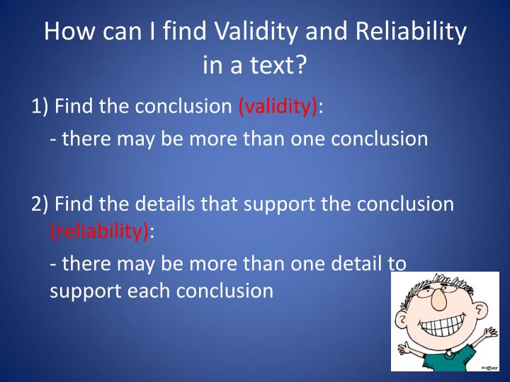 How can I find Validity and Reliability in a text?