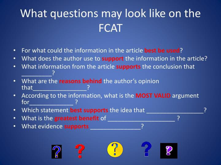 What questions may look like on the FCAT