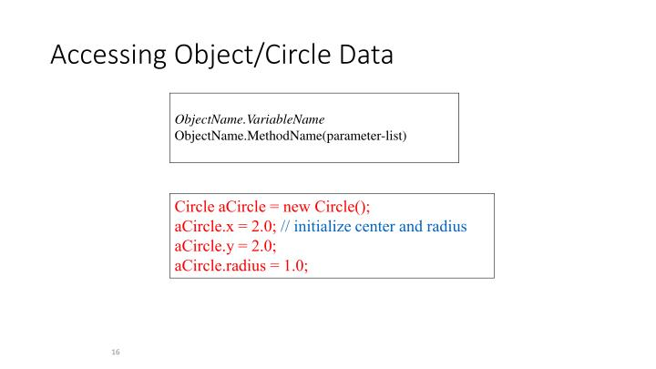 Accessing Object/Circle Data