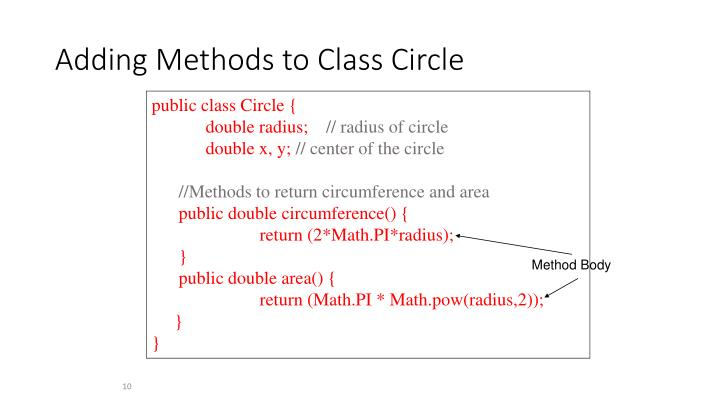 Adding Methods to Class Circle